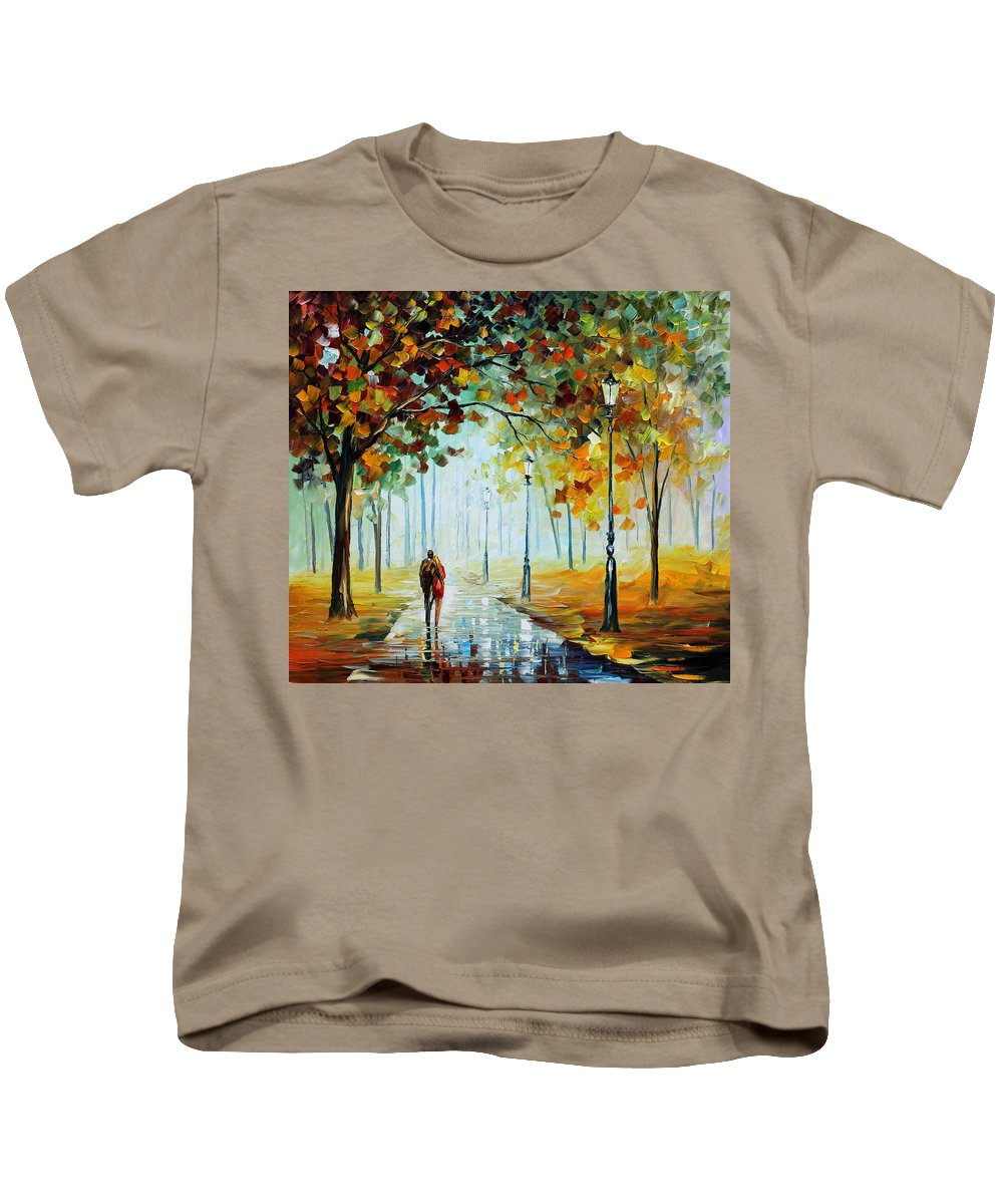 Afremov Kids T-Shirt featuring the painting Foggy Day by Leonid Afremov