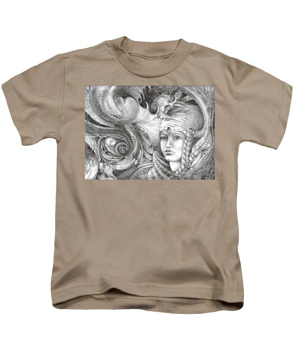 otto Rapp Kids T-Shirt featuring the drawing Fomorii King And Queen by Otto Rapp