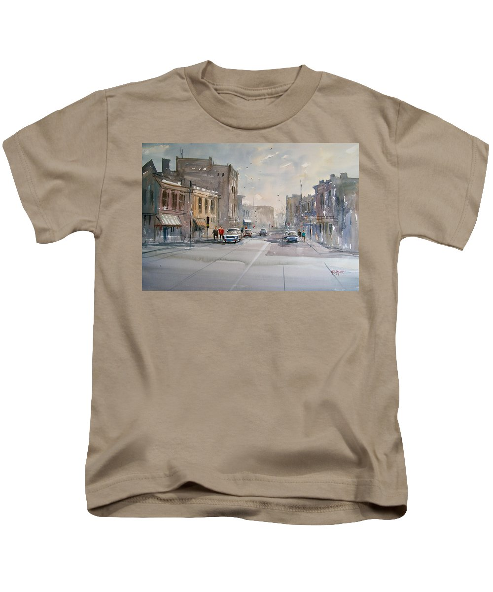 Watercolor Kids T-Shirt featuring the painting Fond Du Lac - Main Street by Ryan Radke