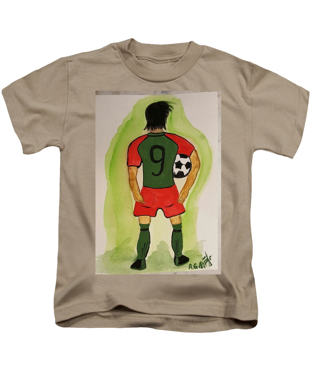 Football Painting Men Boll New Green 9 For Men Kids T-Shirt featuring the drawing Football by ANNA Gogoleva
