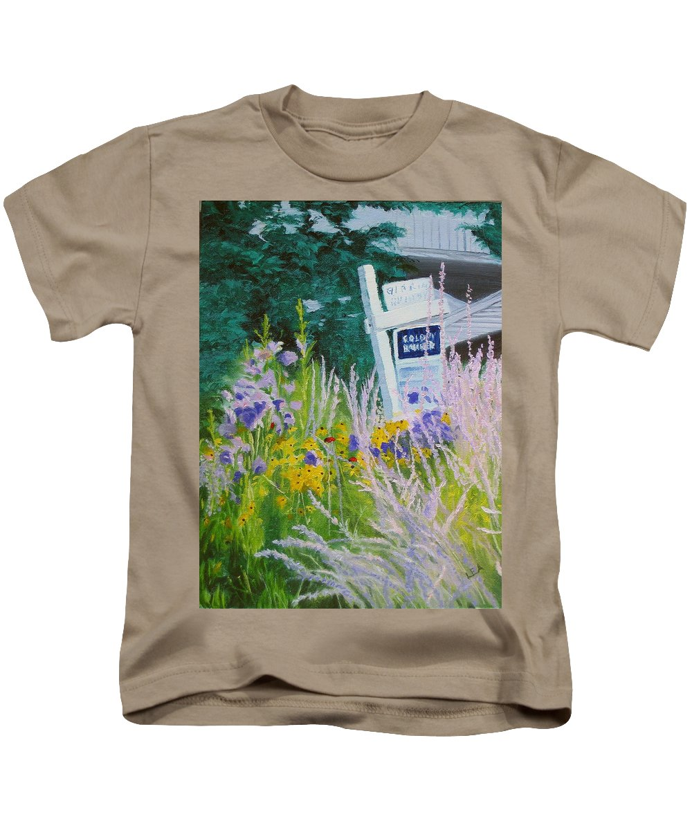 Landscape Kids T-Shirt featuring the painting For Sale - A Patch Of Paradise by Lea Novak