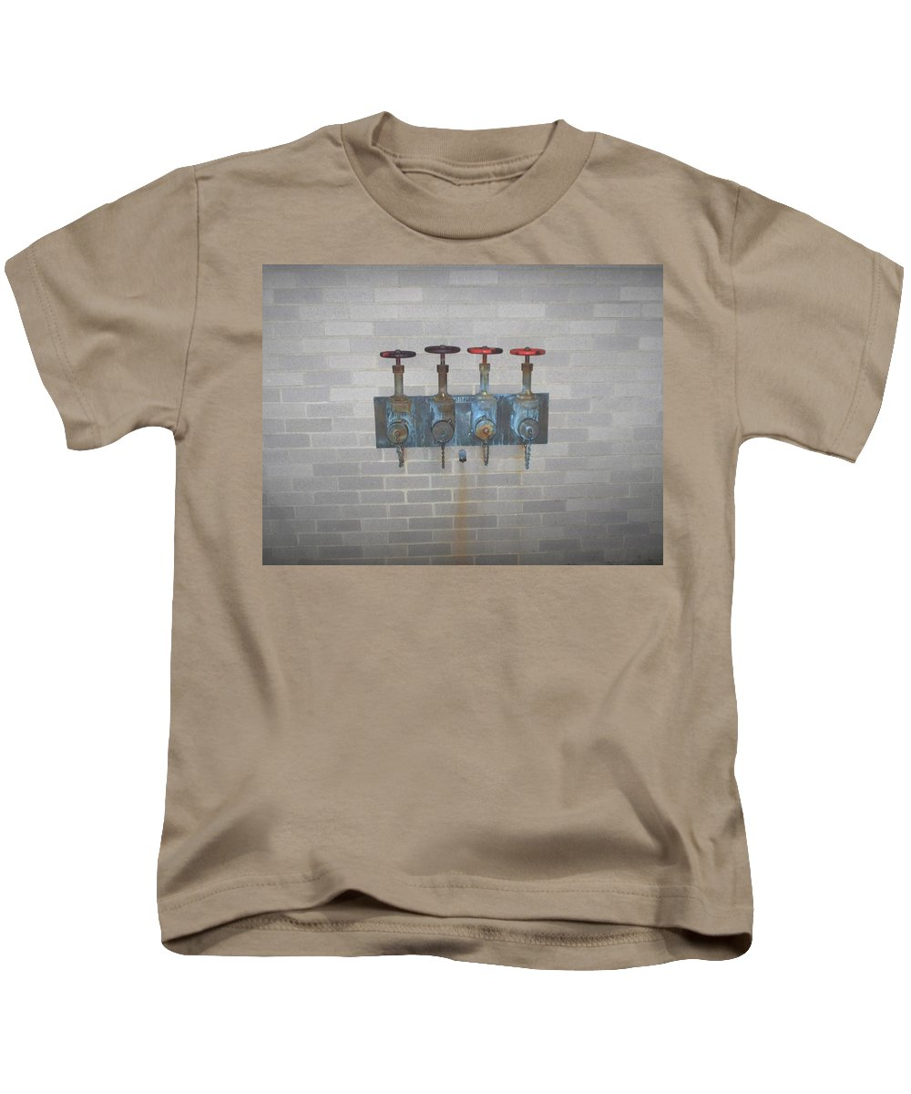 Photograph Kids T-Shirt featuring the photograph Four Pipes by Thomas Valentine