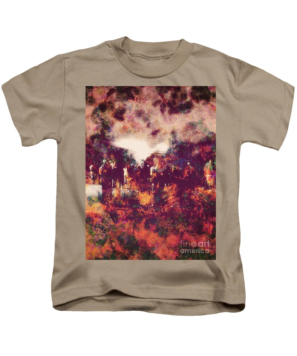 Abstract Kids T-Shirt featuring the digital art Fourth Of July by Davy Cheng