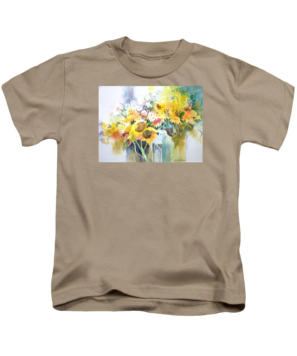 Contemporary;watercolor;sunflowers;daisies;floral; Kids T-Shirt featuring the painting Fresh-picked by Lois Mountz