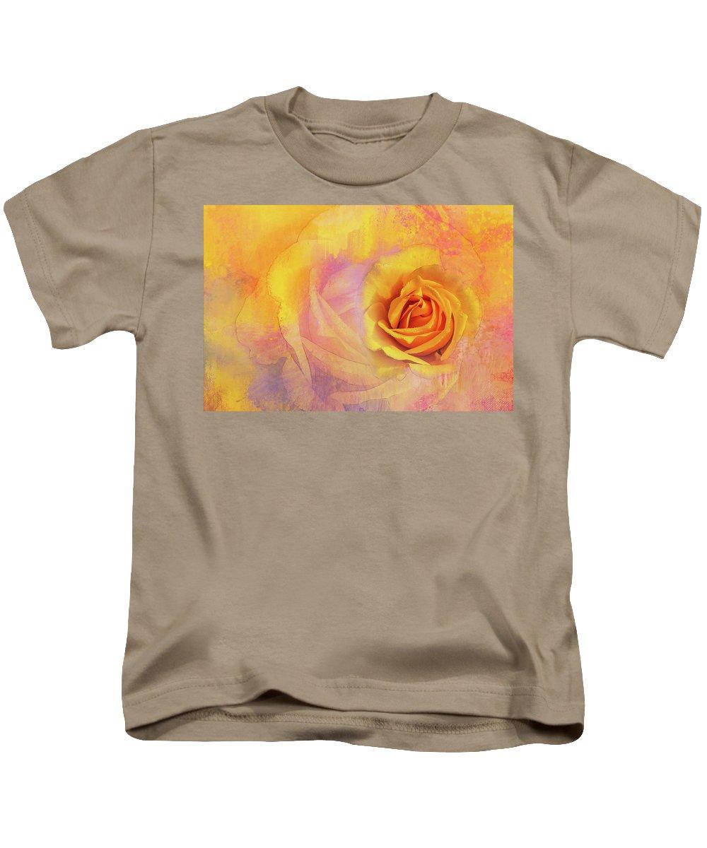 Photography Kids T-Shirt featuring the digital art Friendship Rose Textured by Terry Davis