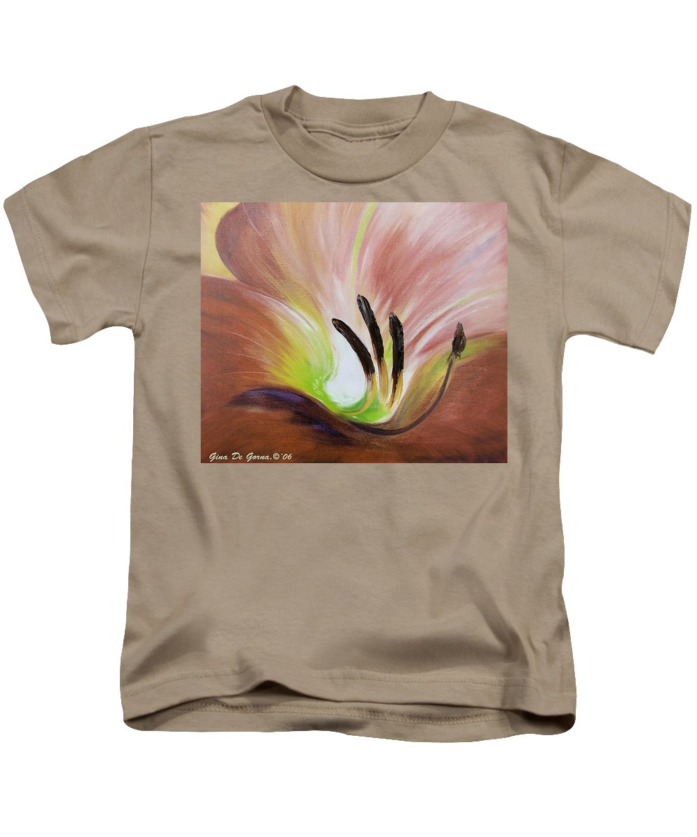 Brown Kids T-Shirt featuring the painting From The Heart Of A Flower Brown 3 by Gina De Gorna