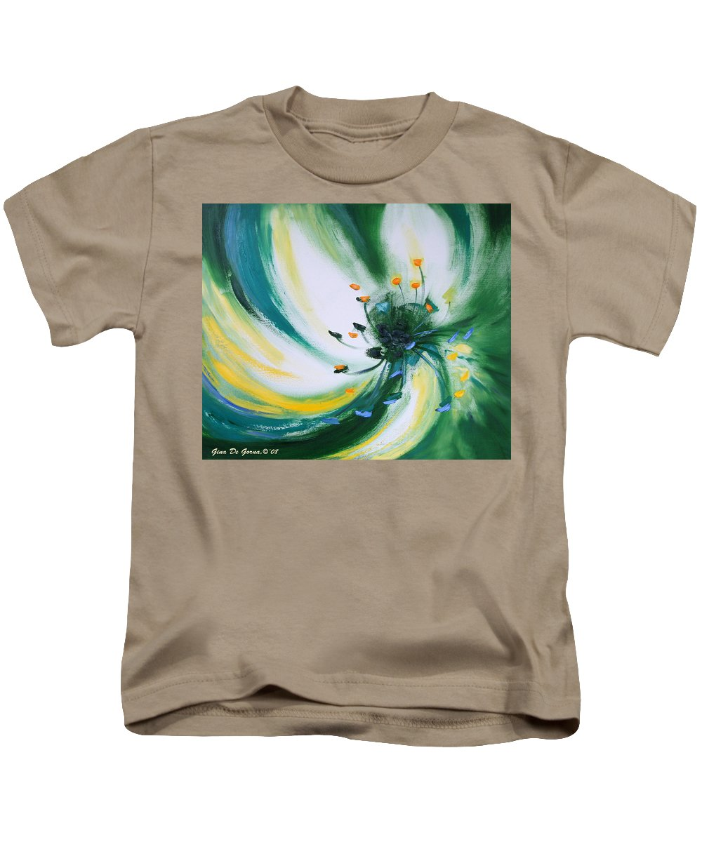 Green Kids T-Shirt featuring the painting From The Heart Of A Flower Green by Gina De Gorna