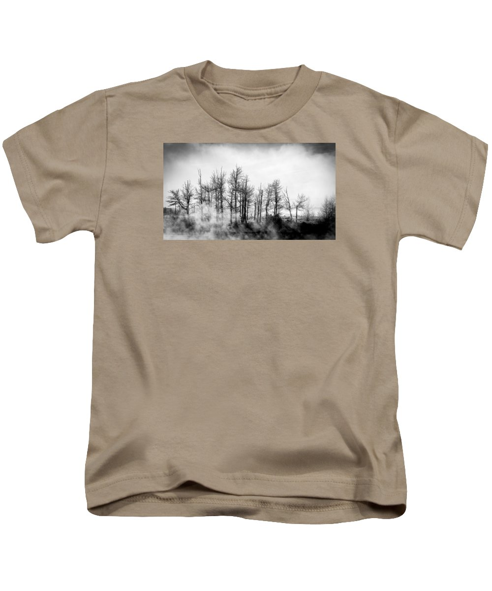 Black And White Kids T-Shirt featuring the photograph Frozen Mystic by Cory Huchkowski