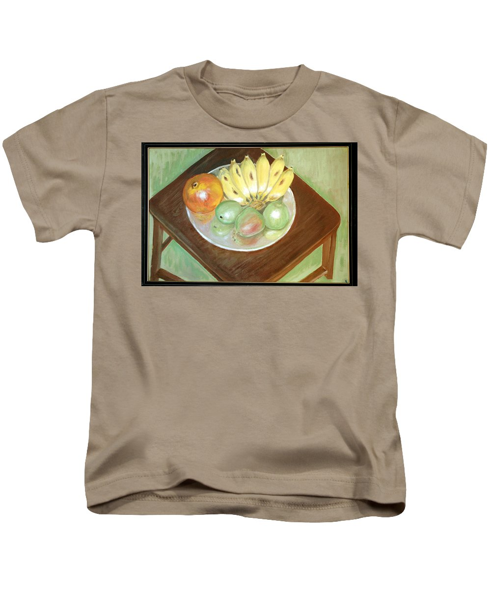 Fruits Kids T-Shirt featuring the painting Fruit Plate by Usha Shantharam
