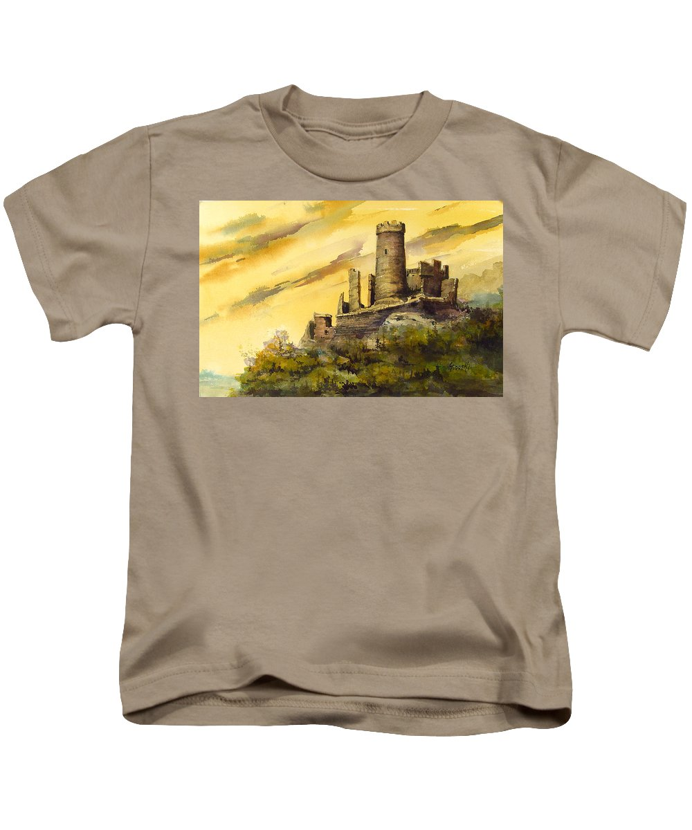 Castle Kids T-Shirt featuring the painting Furstenburg On The Rhine by Sam Sidders