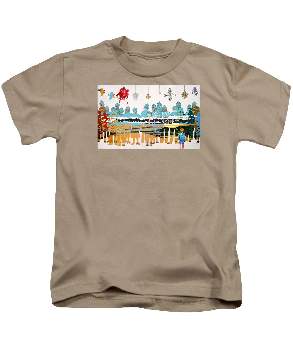 Child Kids T-Shirt featuring the painting Gallery By The Sea by Sharron Loree