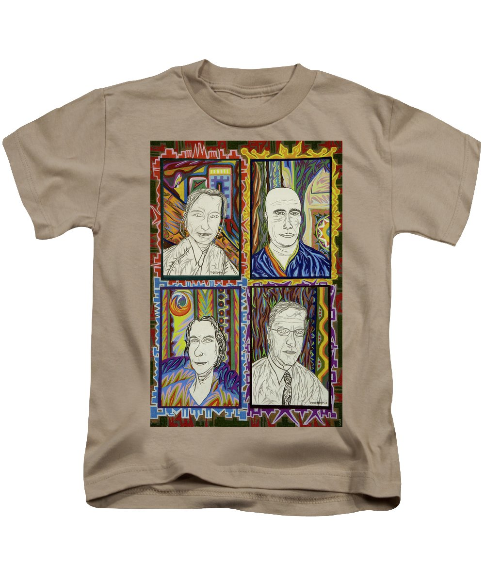 Portrait Kids T-Shirt featuring the painting Gang Of Four by Robert SORENSEN