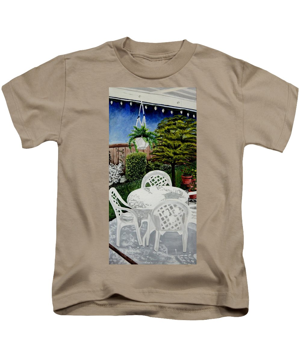 Landscape Kids T-Shirt featuring the painting Garden Lights by Elizabeth Robinette Tyndall