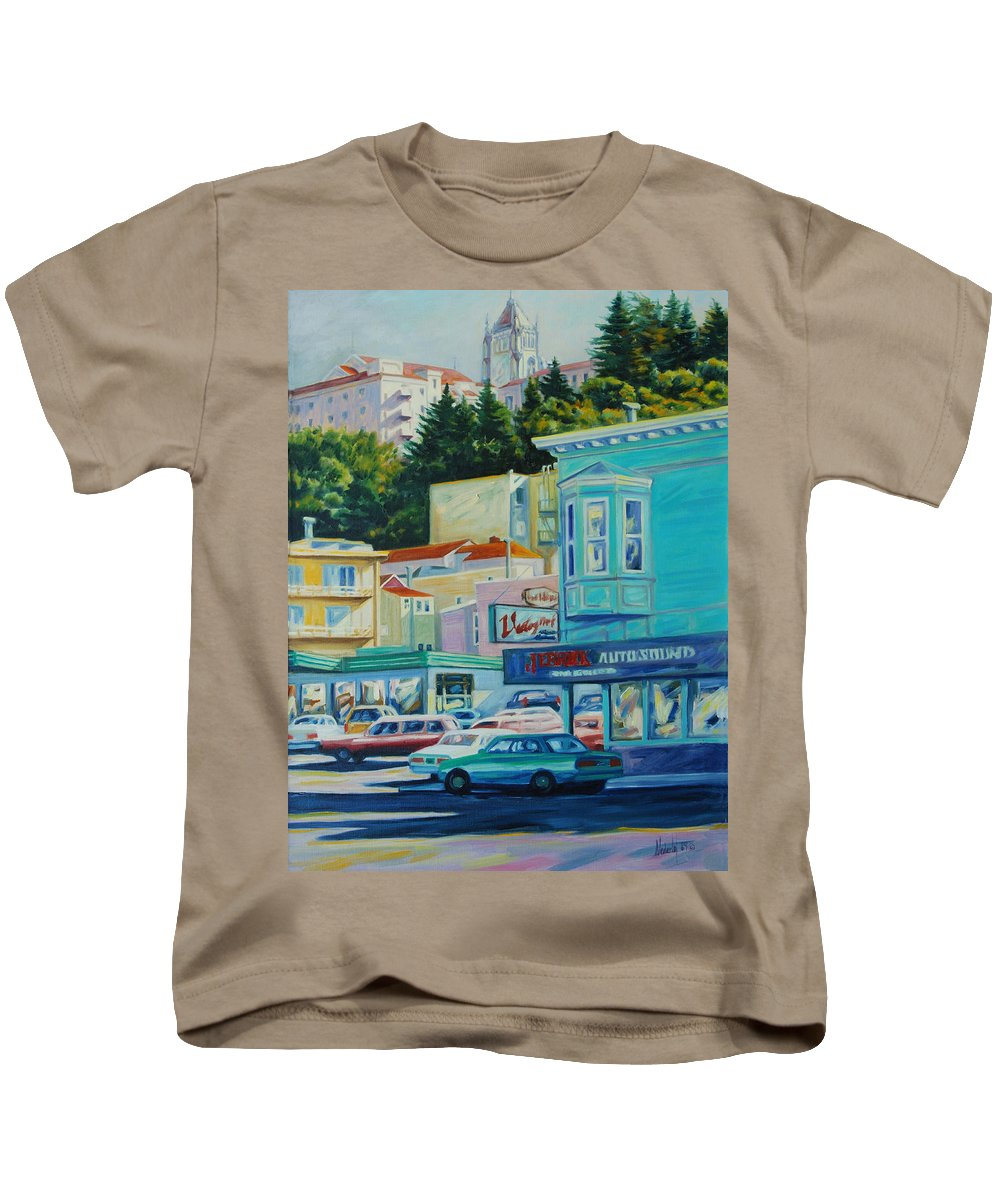Cityscape Kids T-Shirt featuring the painting Geary Street by Rick Nederlof