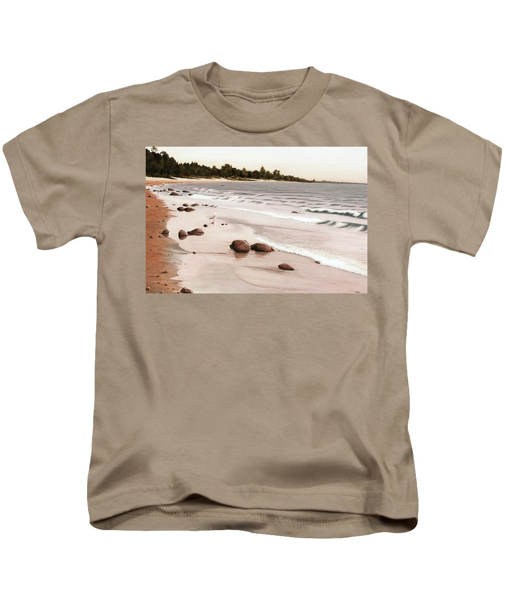 Landscapes Kids T-Shirt featuring the painting Georgian Bay Beach by Kenneth M Kirsch