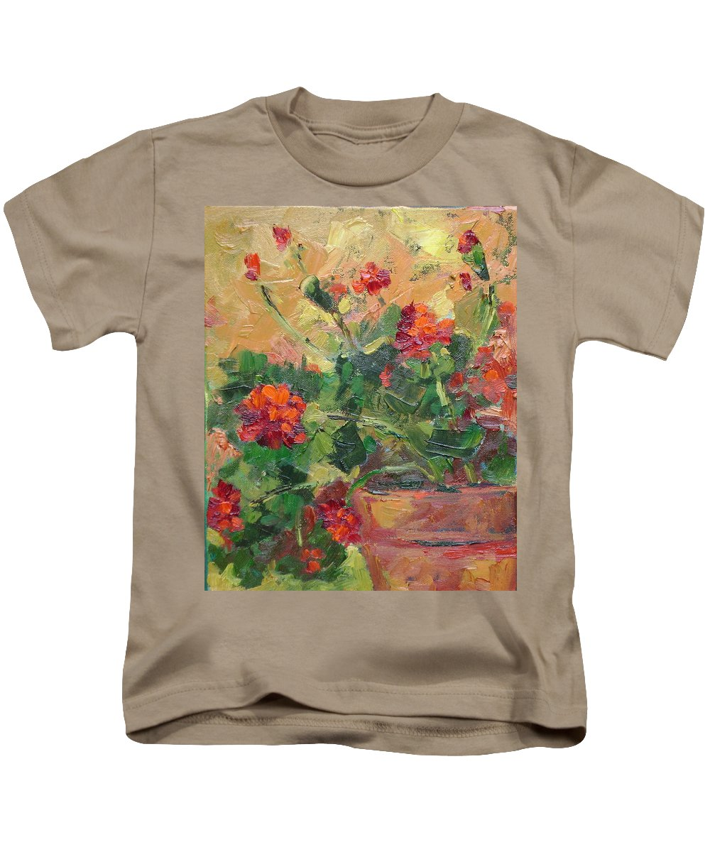 Geraniums Kids T-Shirt featuring the painting Geraniums II by Ginger Concepcion