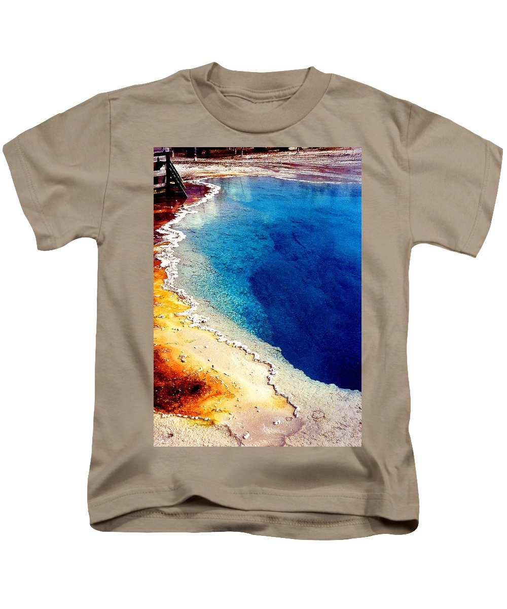 Geyser Kids T-Shirt featuring the photograph Geyser Basin by Nancy Mueller