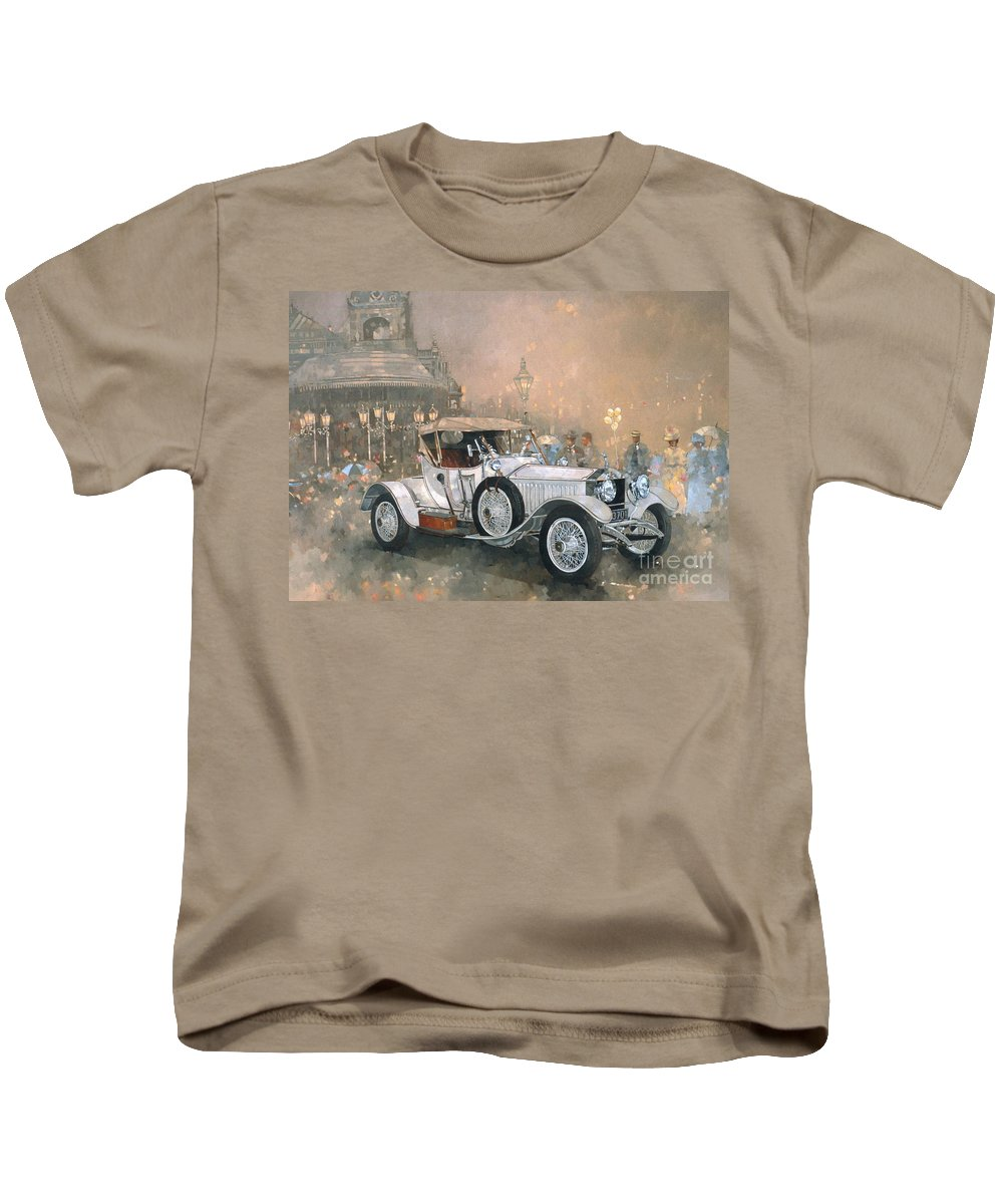 Seaside; Evening; Promenade; Car; Automobile; Rolls Royce; Vintage; Bandstand; Classic Cars; Vintage Cars; Nostalgia; Resort; Old Timer ; Scarborough Kids T-Shirt featuring the painting Ghost In Scarborough by Peter Miller