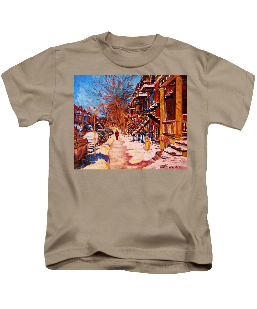 Children Kids T-Shirt featuring the painting Girl In The Red Jacket by Carole Spandau