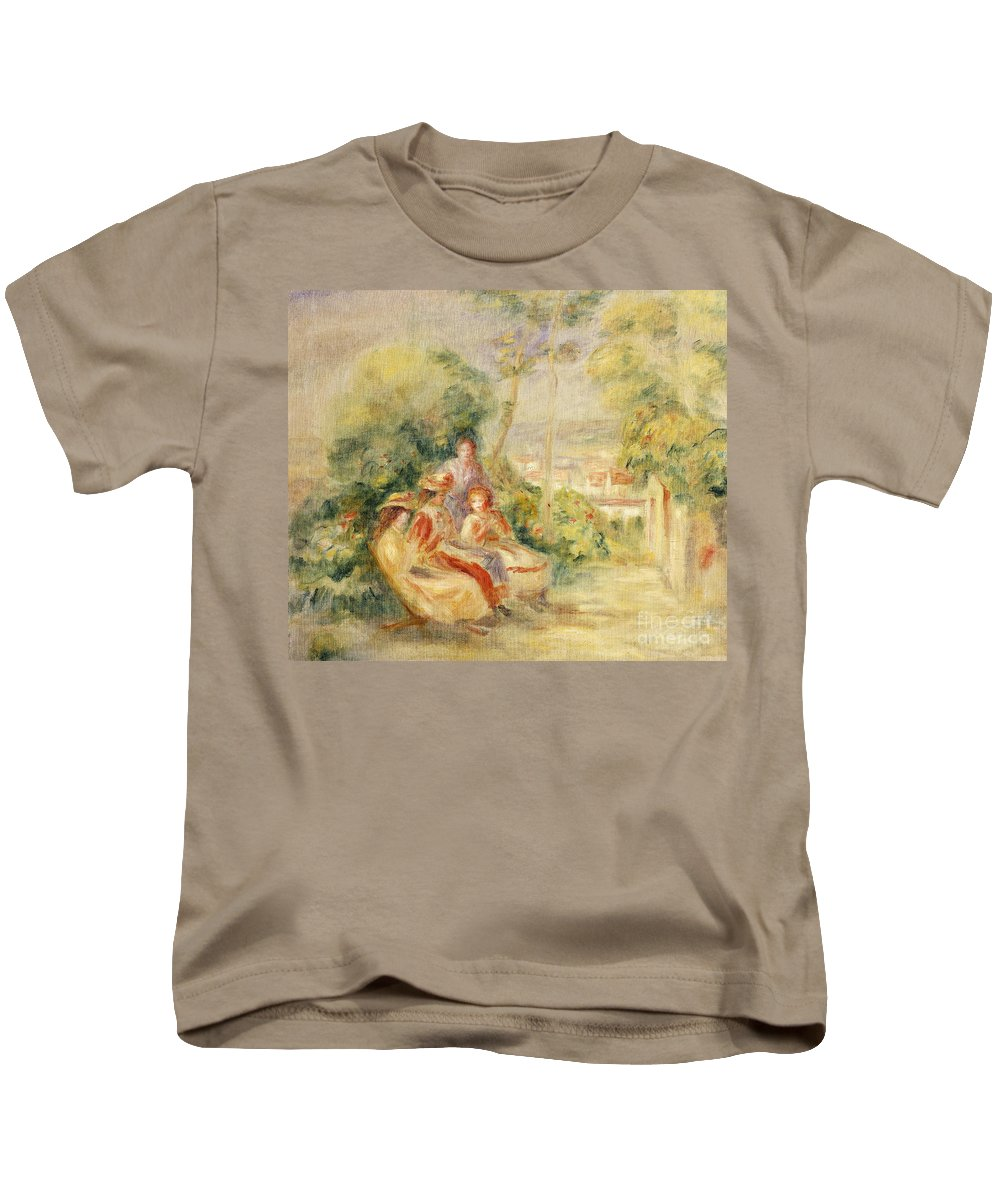 Renoir Kids T-Shirt featuring the painting Girls In A Garden by Pierre Auguste Renoir