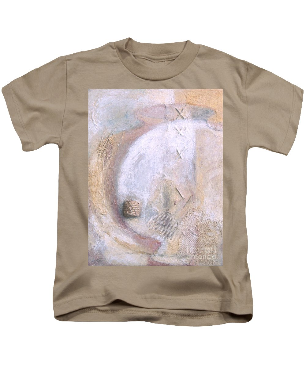 Collage Kids T-Shirt featuring the painting Give And Receive by Kerryn Madsen-Pietsch