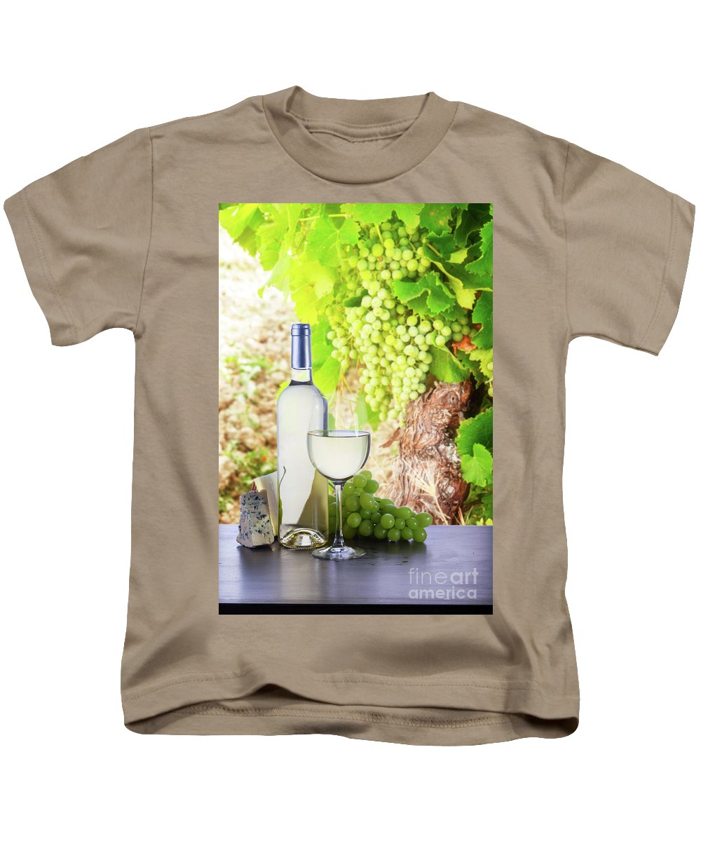 Wine Kids T-Shirt featuring the photograph White Wine In Vineyard by Anastasy Yarmolovich