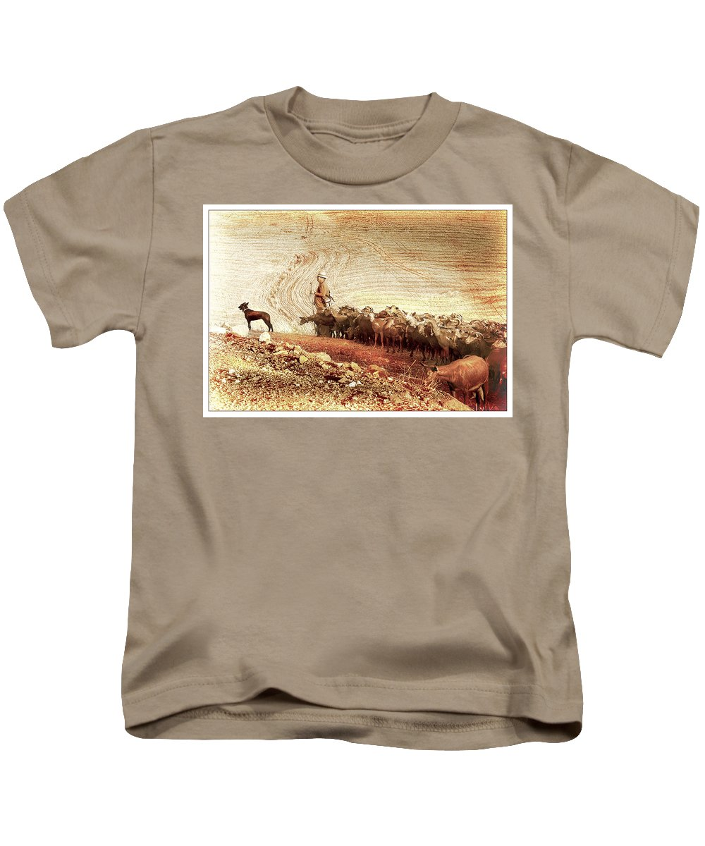 Goats Kids T-Shirt featuring the photograph Goatherd by Mal Bray