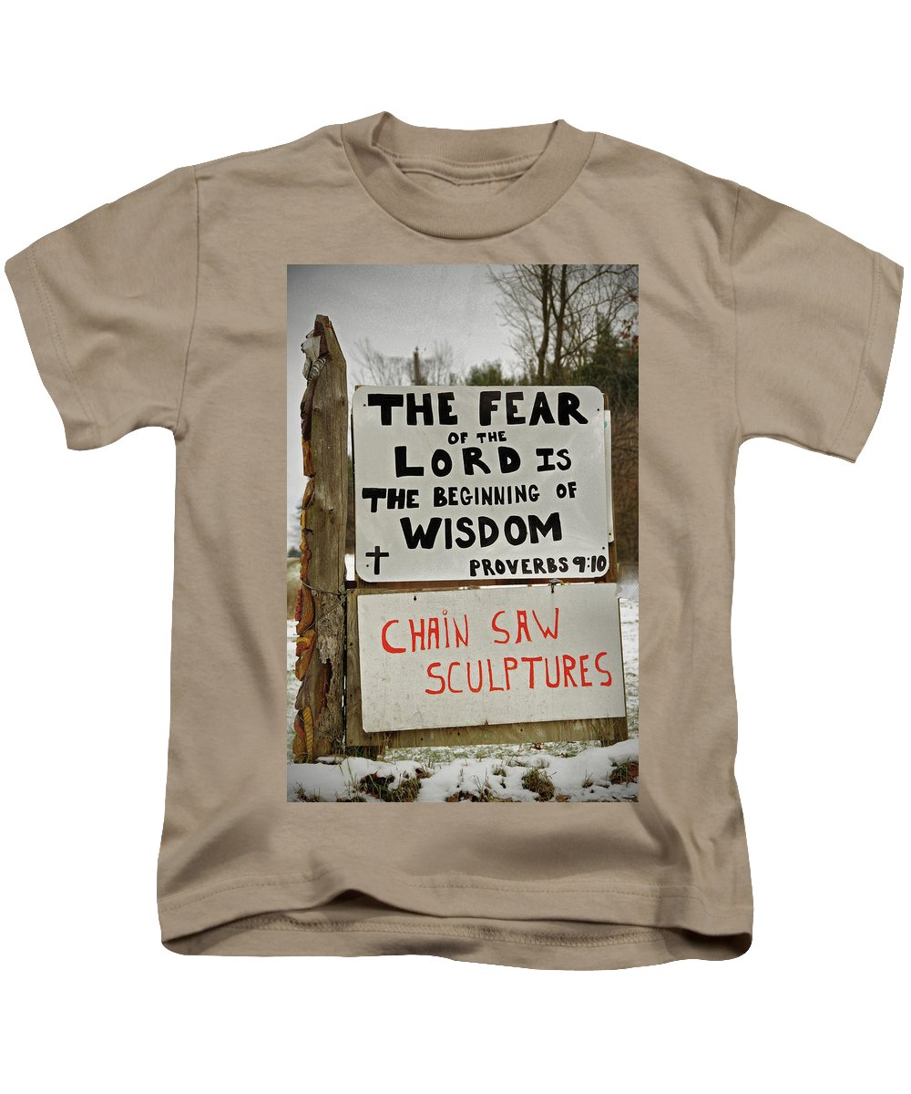 Signs Kids T-Shirt featuring the photograph God And Saws by David Arment