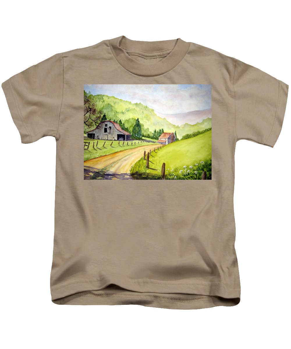 Barns Kids T-Shirt featuring the painting Going Home by Julia RIETZ