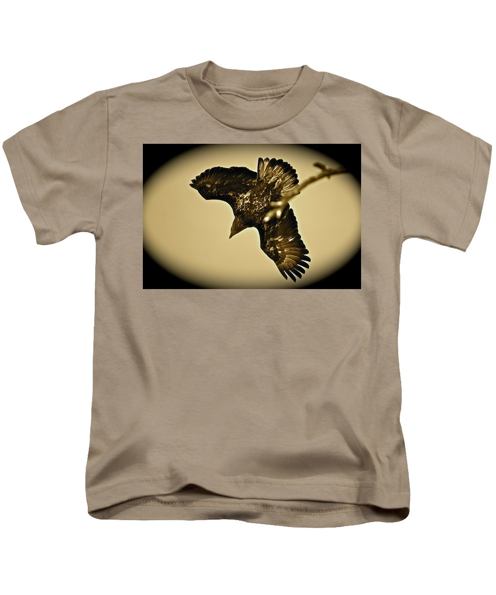 Bird Kids T-Shirt featuring the photograph Going Hunting by Diana Hatcher