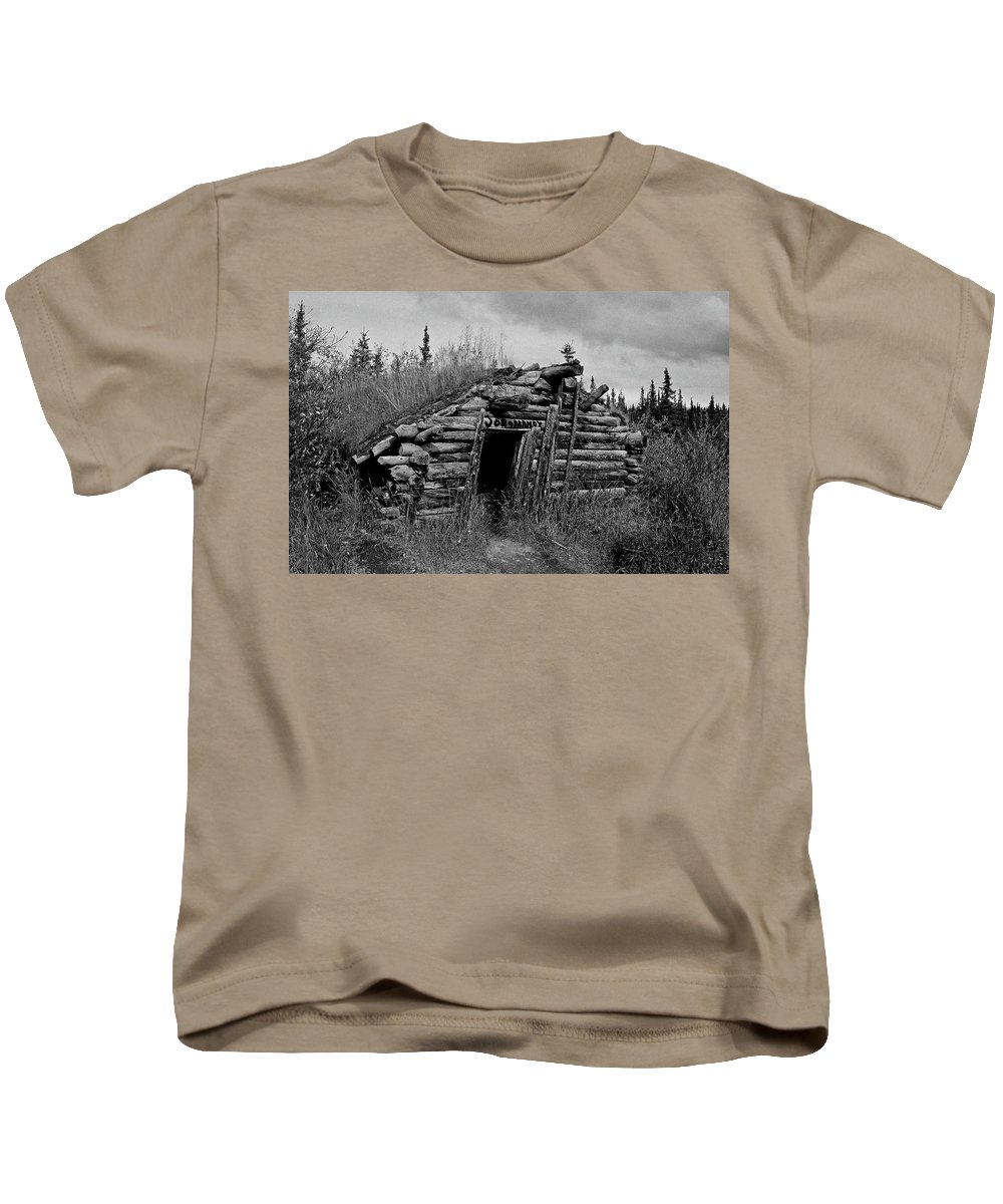 Gold Kids T-Shirt featuring the photograph Gold Rush Cabin - Yukon by Juergen Weiss