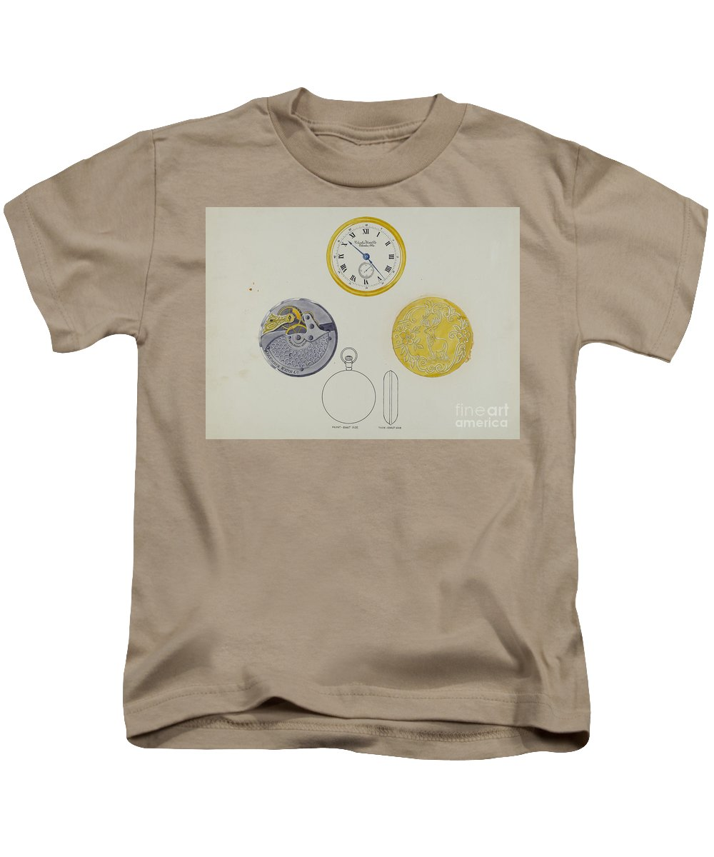 Kids T-Shirt featuring the painting Gold Watch With Frame And Case by Harry G. Aberdeen