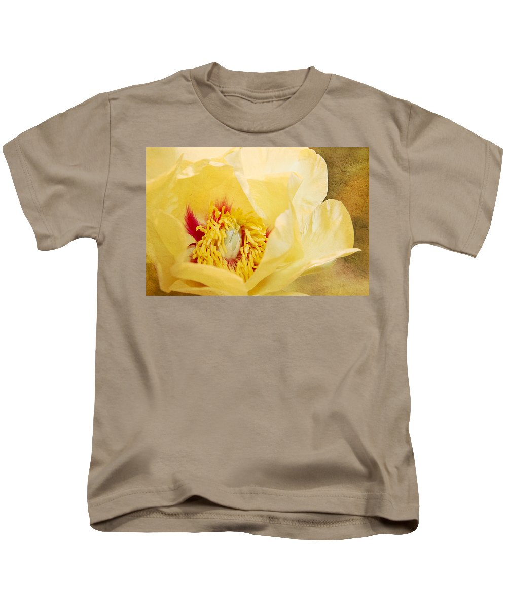 Peony Kids T-Shirt featuring the photograph Golden Bowl Tree Peony Bloom by Patti Deters