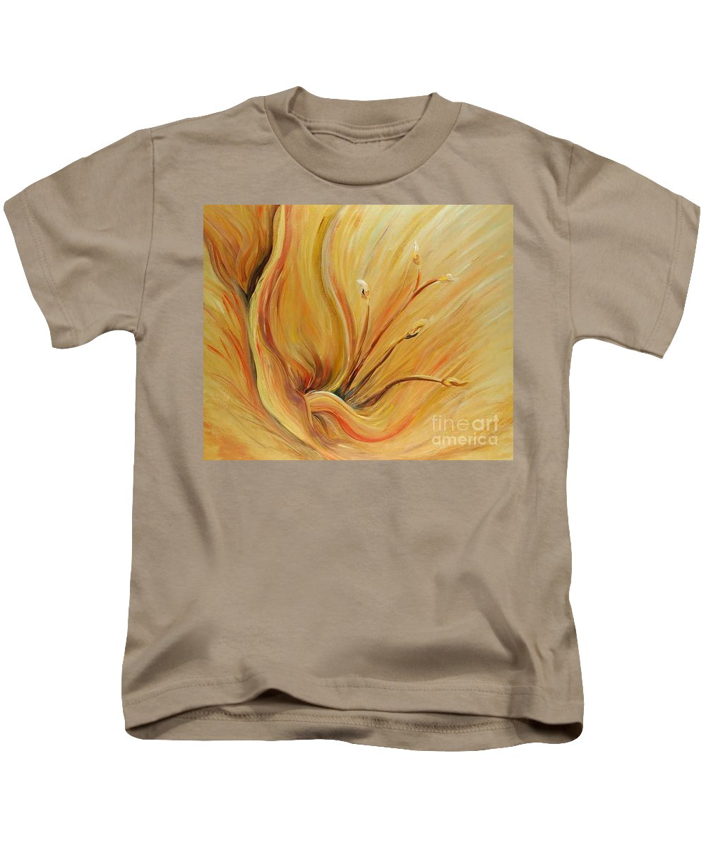 Gold Kids T-Shirt featuring the painting Golden Glow by Nadine Rippelmeyer