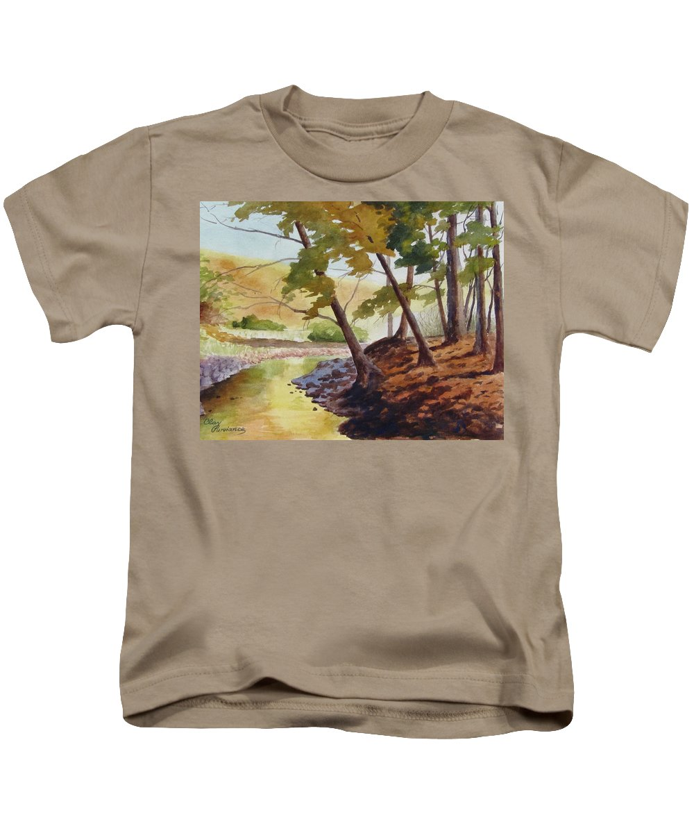 Landscape Kids T-Shirt featuring the painting Golden Stream by Clay Purviance