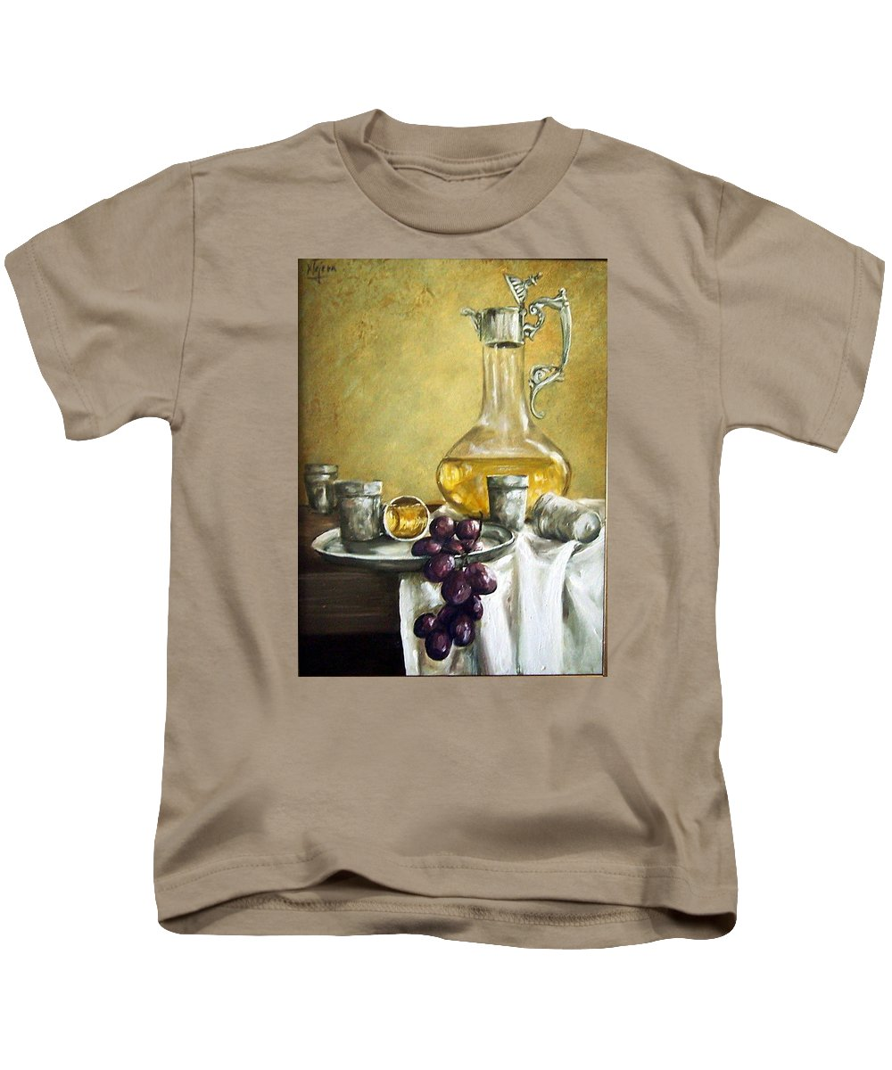 Still Life Cristal Bottle Grapes Fruits Glass Kids T-Shirt featuring the painting Grapes And Cristals by Natalia Tejera