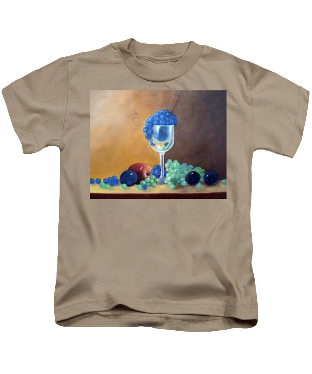 Wine Galsses With Grapes Kids T-Shirt featuring the painting Grapes And Plums by Susan Dehlinger