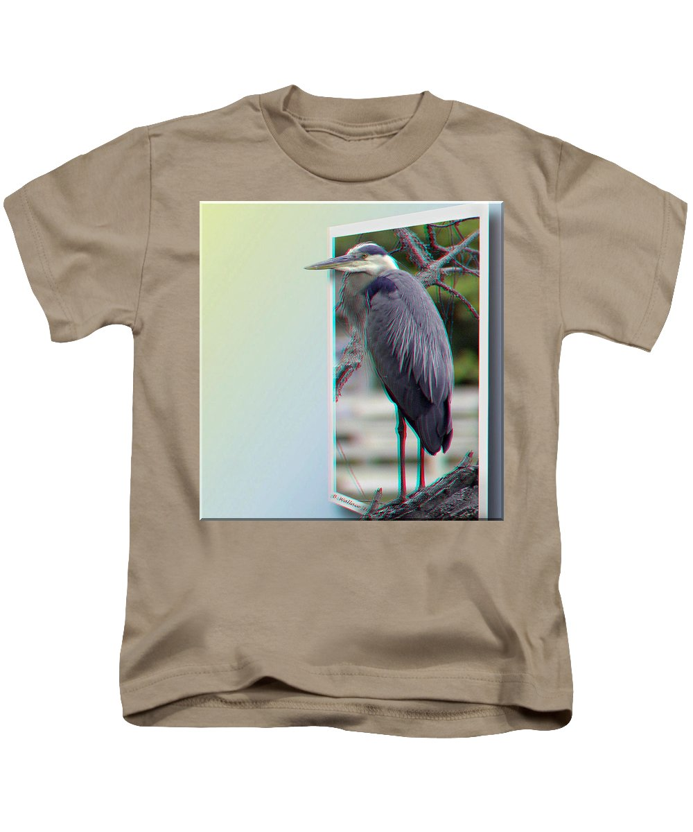3d Kids T-Shirt featuring the photograph Great Blue Heron - Red-cyan 3d Glasses Required by Brian Wallace