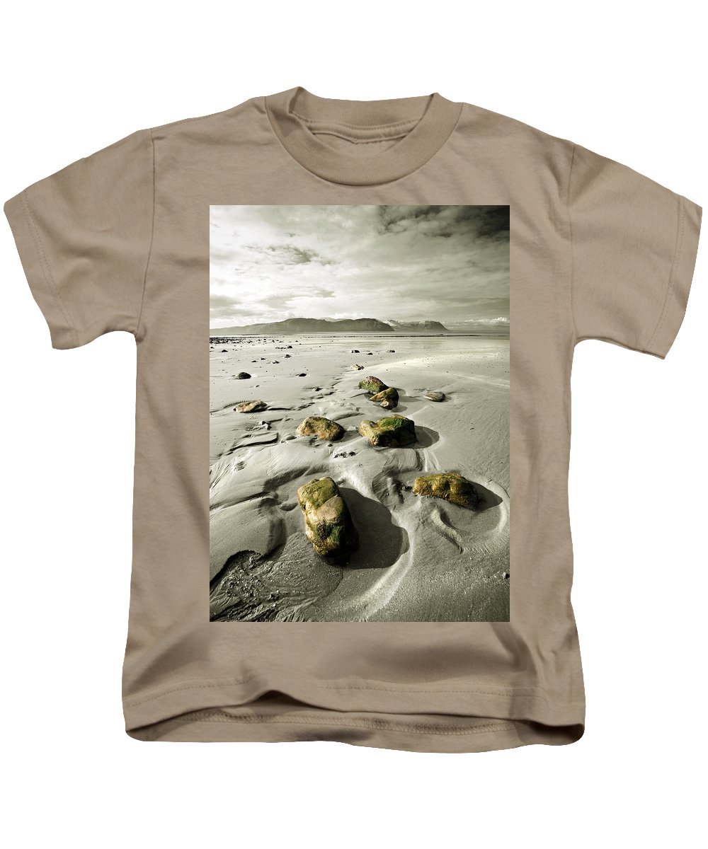 Beach Kids T-Shirt featuring the photograph Green Stones On A North Wales Beach by Mal Bray