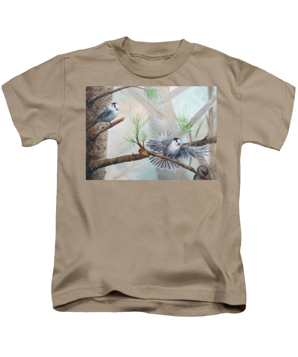 Grey Jay Kids T-Shirt featuring the painting Grey Jays In A Jack Pine by Ruth Kamenev