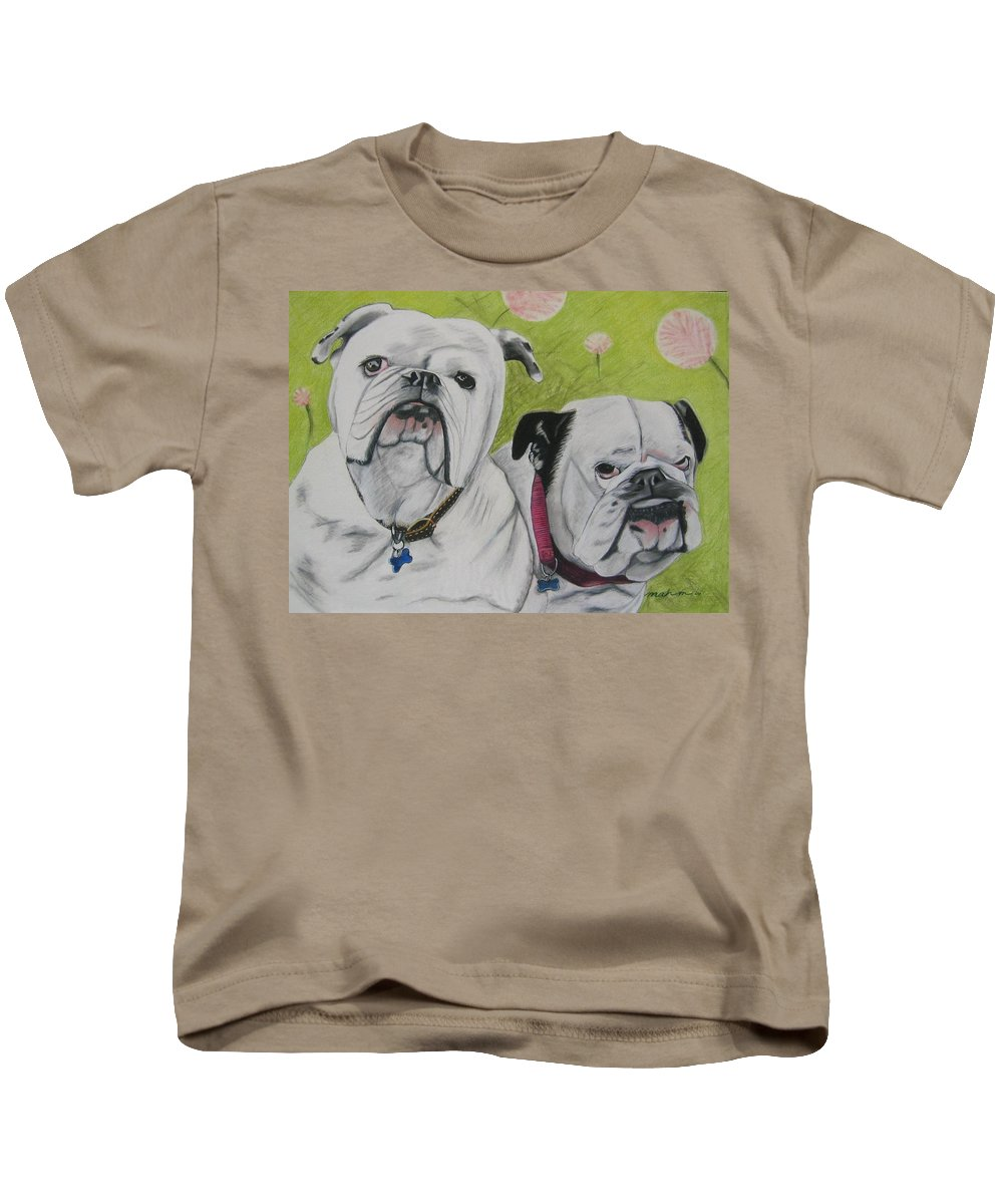Dog Painting Kids T-Shirt featuring the pastel Gus And Olive by Michelle Hayden-Marsan