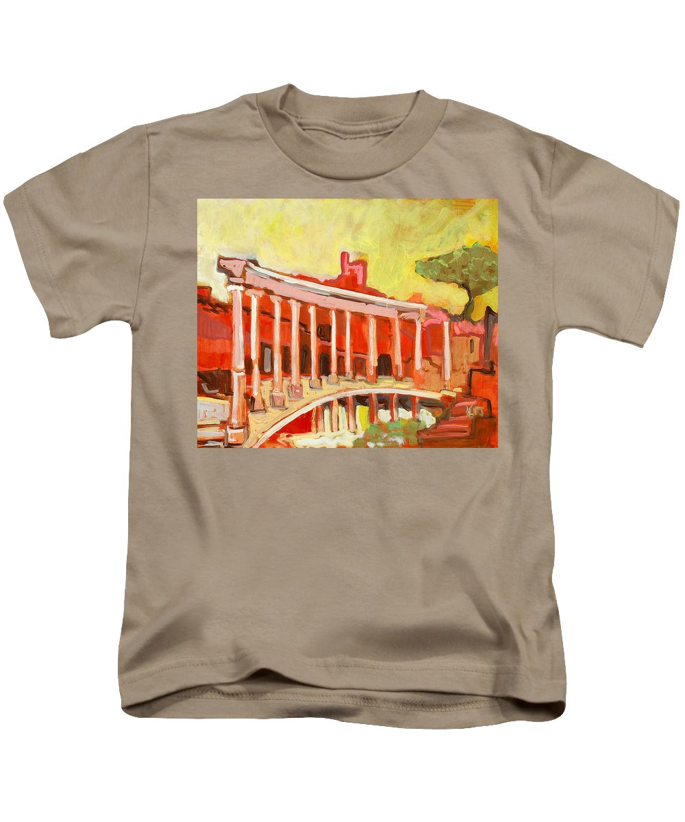 Villa Kids T-Shirt featuring the painting Hadrian's Villa by Kurt Hausmann