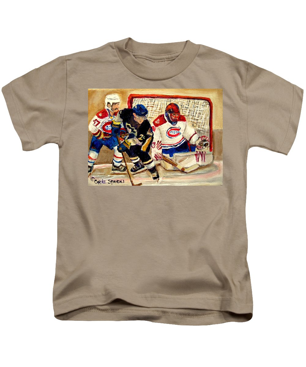 Hockey Kids T-Shirt featuring the painting Halak Catches The Puck Stanley Cup Playoffs 2010 by Carole Spandau