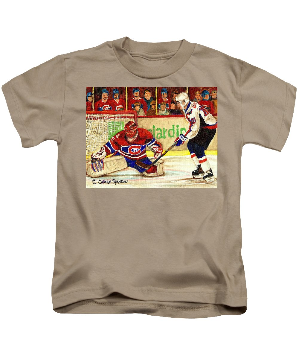 Hockey Kids T-Shirt featuring the painting Halak Makes Another Save by Carole Spandau