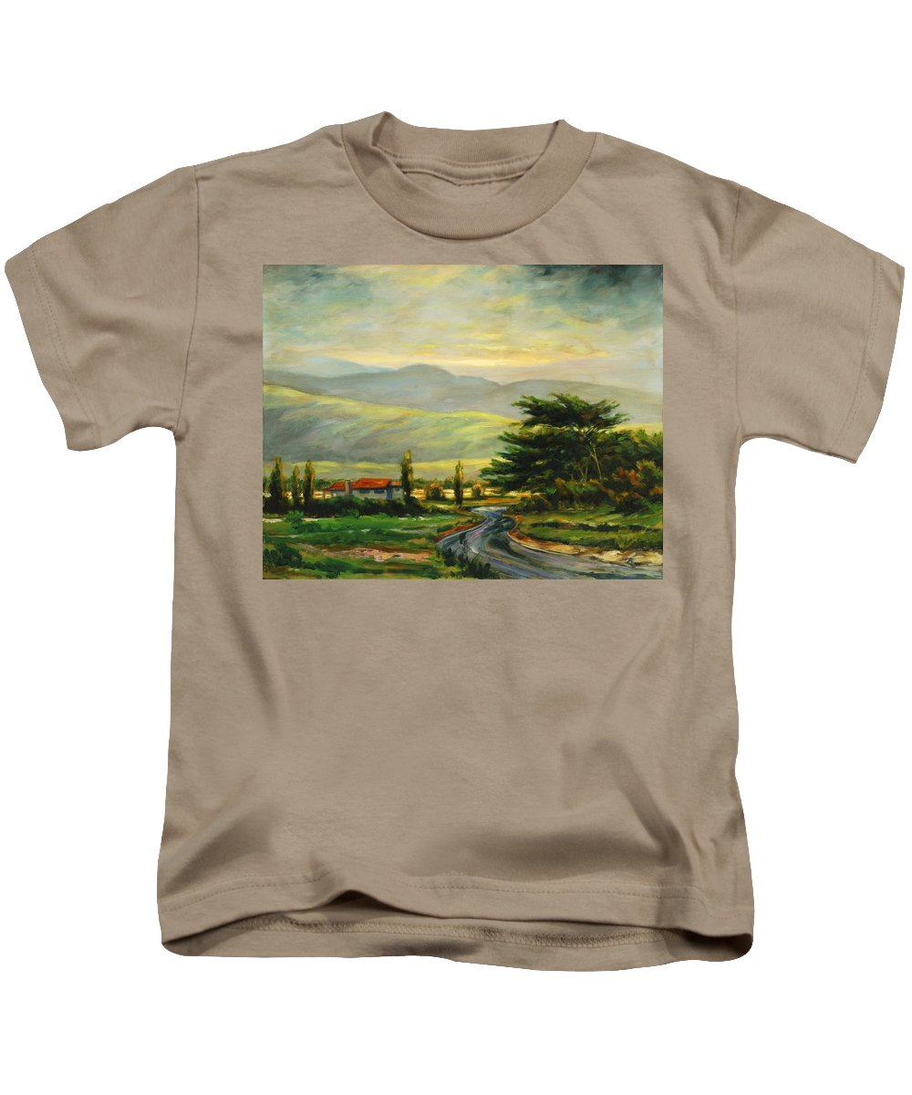Trees Kids T-Shirt featuring the painting Half Moon Bay by Rick Nederlof
