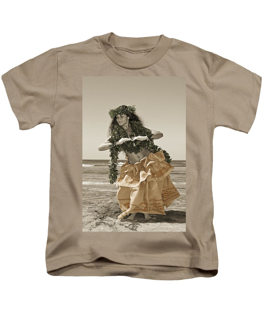 Afternoon Kids T-Shirt featuring the photograph Hand Colored Hula by Himani - Printscapes