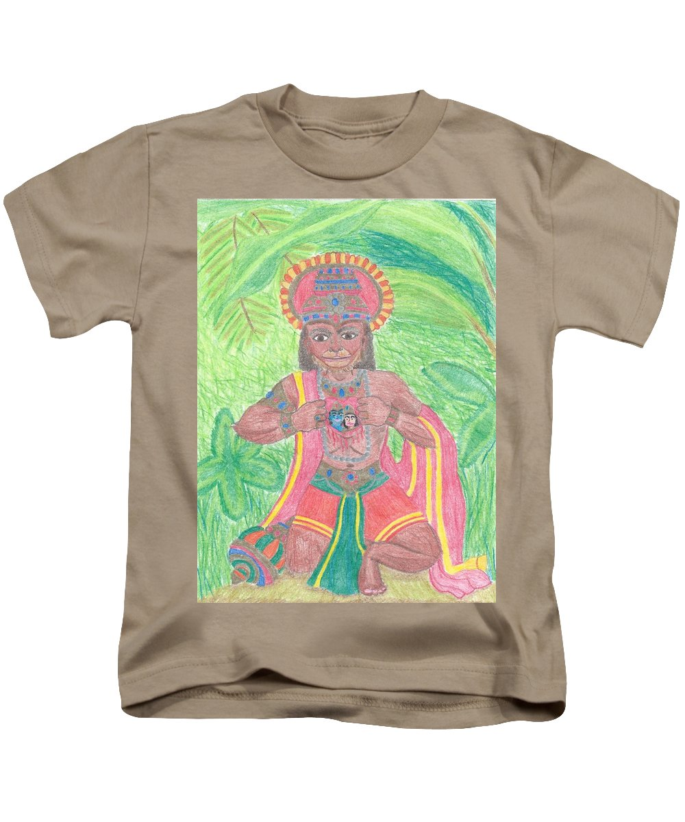 Hanuman Kids T-Shirt featuring the drawing The Bhakta by Megan Crow