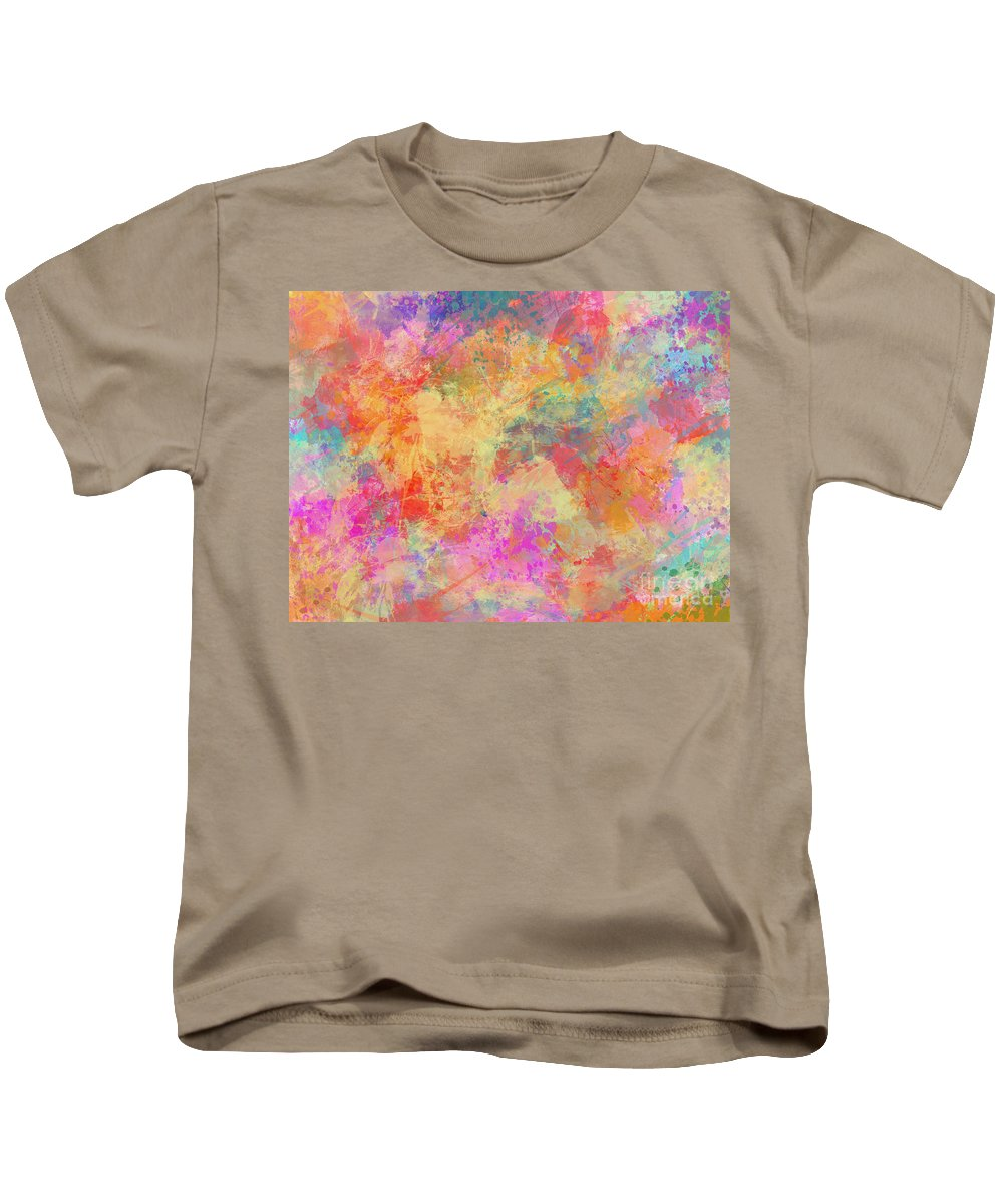 Abstract Painting Kids T-Shirt featuring the painting Happiness Abstract Painting by Justyna JBJart