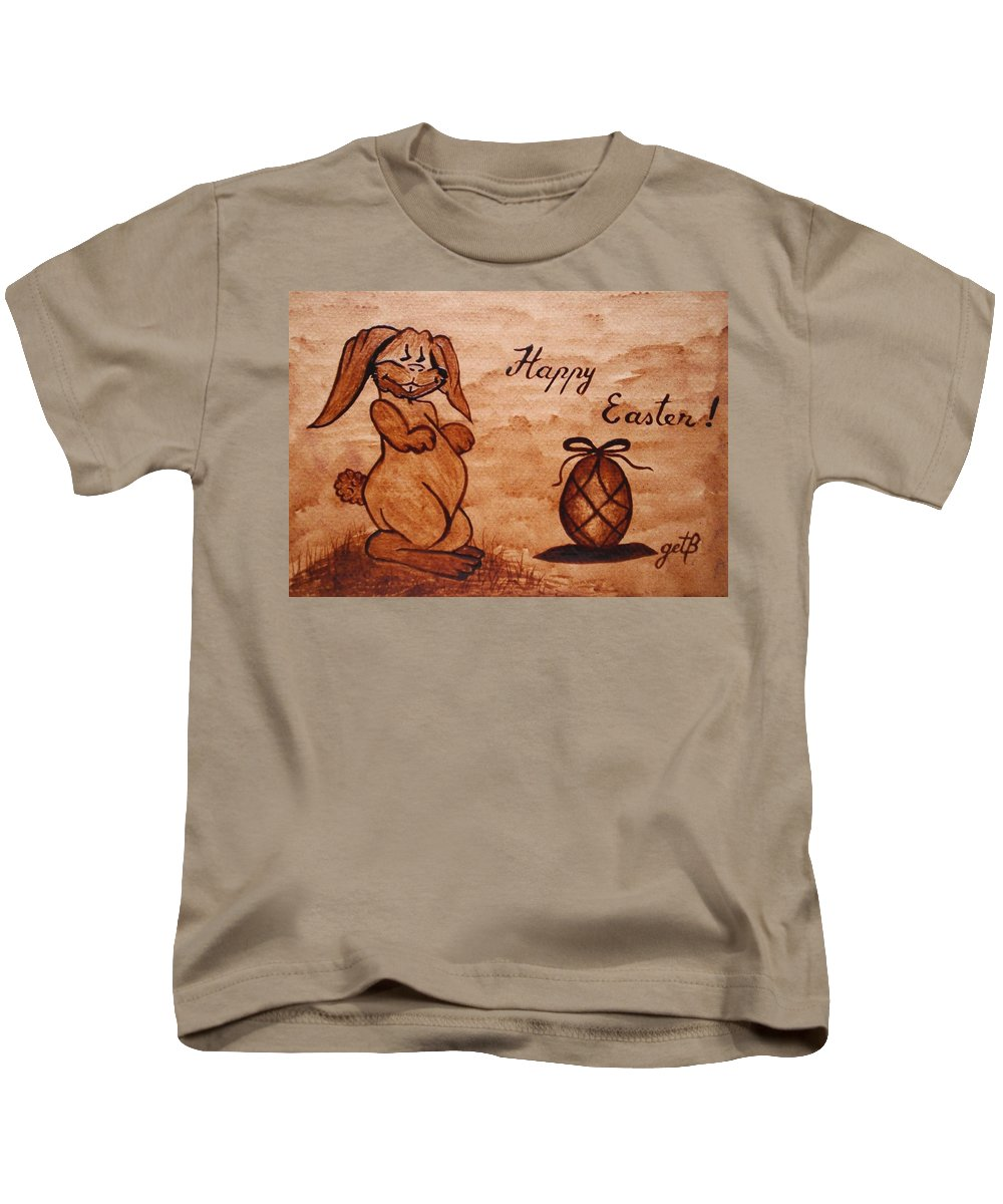 Easter Bunny And Egg Kids T-Shirt featuring the painting Happy Easter Coffee Painting by Georgeta Blanaru