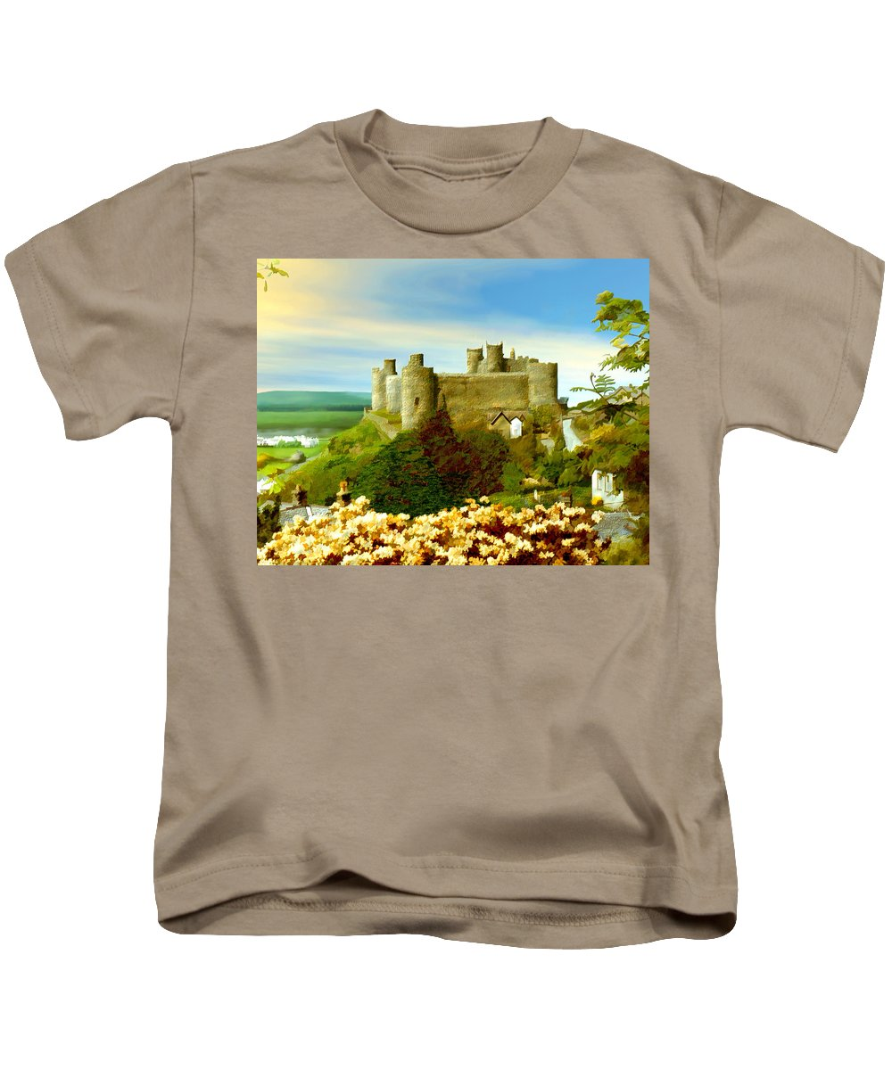 Castles Kids T-Shirt featuring the photograph Harlech Castle by Kurt Van Wagner